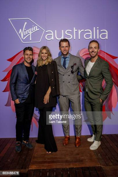 Dan Rumble Nikki Phillips Miro House and Donny Galella entertained by the Virgin Aust Runway Bar arrives ahead of the VAMFF 2017 Premium...