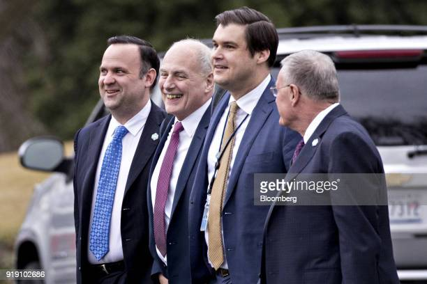 Dan Scavino Jr White House director of social media from left John Kelly White House chief of staff John DeStefano assistant and counsellor to US...