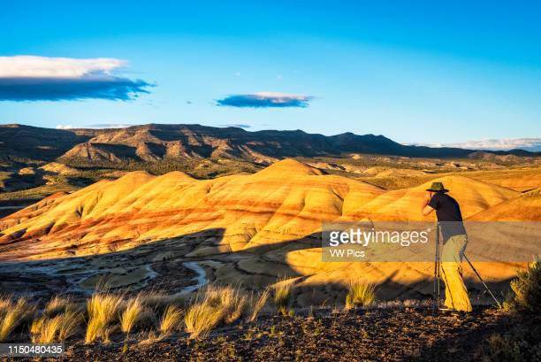 Dan Schoenwald photographing at Painted Hills Unit John Day Fossil Beds National Monument Oregon