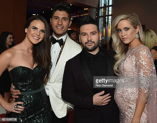 Dan Shay Abby Law Dan Smyers Shay Mooney and Hannah Billingsley attend the 50th annual CMA Awards at the Bridgestone Arena on November 2 2016 in...