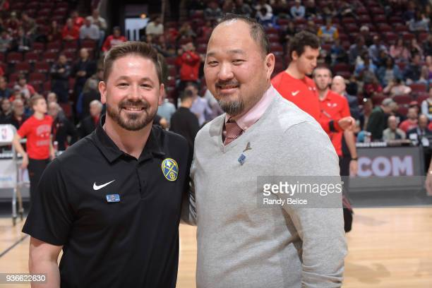 Dan Shimensky trainer of the Denver Nuggets and Jeff Tanaka trainer of the Chicago Bulls before the game on March 21 2018 at the United Center in...