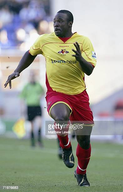 Dan Shittu of Watford in action during the Barclays Premiership match between Wigan Athletic and Watford at the JJB Stadium on September 23 2006 in...