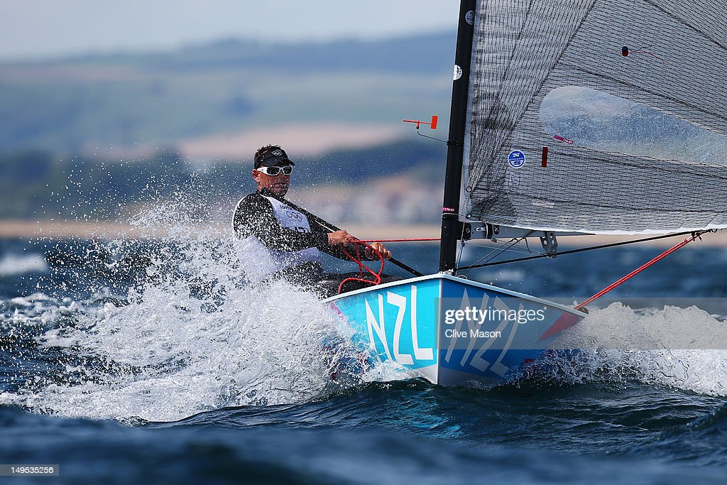 Dan Slater of New Zealand competes in the Men's Finn Sailing on Day 3 of the London 2012 Olympic Games at Weymouth Harbour on July 30, 2012 in Weymouth, England.