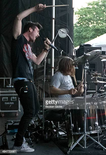 Dan Smith and drummer Chris Woody Wood performing with their band Bastille at the Boston Calling Concert at City Hall Plaza on Saturday May 24 2014