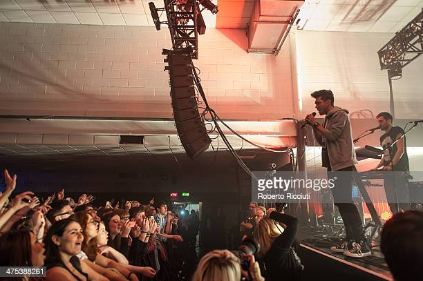 Dan Smith and Kyle Simmons of Bastille perform on stage at The Corn Exchange on February 27, 2014 in Edinburgh, United Kingdom.