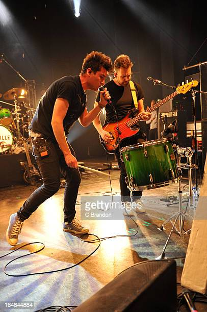 Dan Smith and Will Farquarson of Bastille perform on stage at O2 Shepherd's Bush Empire on March 28 2013 in London England