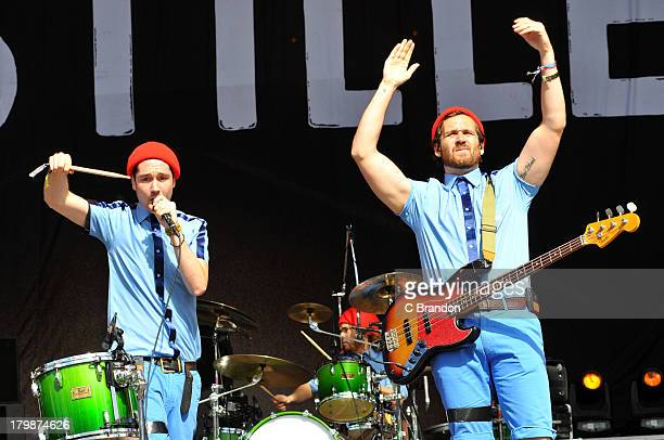 Dan Smith and Will Farquarson of Bastille perform on stage during Day 3 of Bestival 2013 at Robin Hill Country Park on September 7 2013 in Newport...