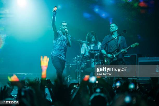 Dan Smith Chris Wood and Will Farquarson of Bastille perform in concert at Razzmatazz on February 27 2019 in Barcelona Spain