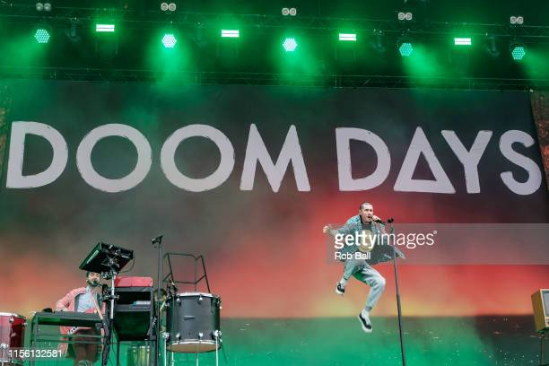 Dan Smith from Bastille performs on stage during Isle of Wight Festival 2019 at Seaclose Park on June 15 2019 in Newport Isle of Wight