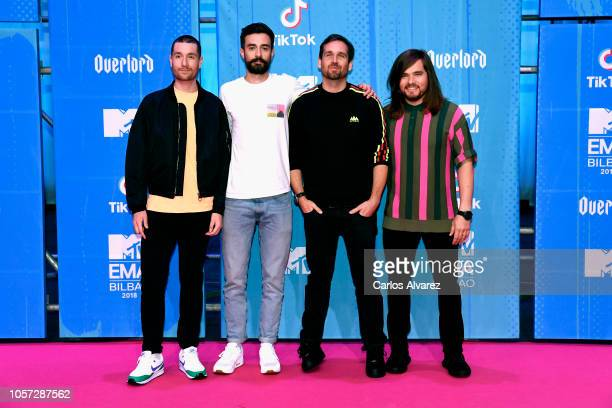 Dan Smith Kyle J Simmons Will Farquarson and Chris Wood of Bastille attend the MTV EMAs 2018 at Bilbao Exhibition Centre on November 4 2018 in Bilbao...