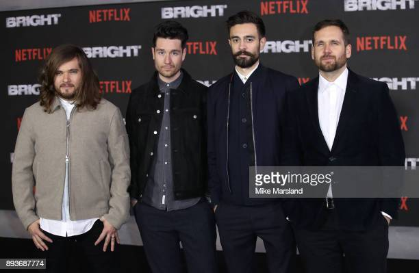 Dan Smith Kyle J Simmons Will Farquarson Chris Wood and Charlie Barnes members of Bastille attend the European Premeire of 'Bright' held at BFI...