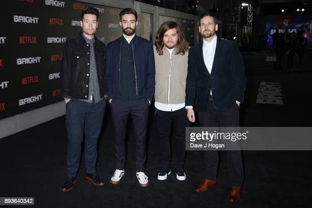 Dan Smith Kyle Simmons Chris 'Woody' Wood and Will Farquarson of Bastille attend the European Premiere of 'Bright' held at BFI Southbank on December...