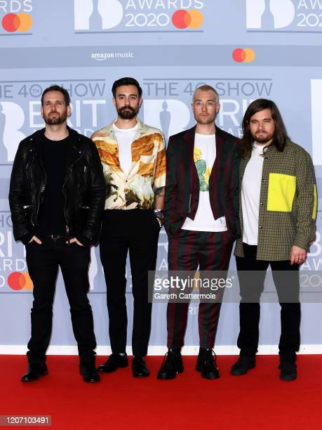 Dan Smith, Kyle Simmons, Will Farquarson and Chris Woody Wood of Bastille attend The BRIT Awards 2020 at The O2 Arena on February 18, 2020 in London,...