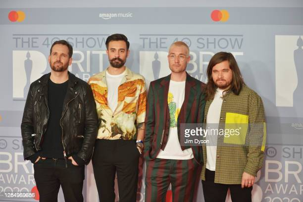 Dan Smith, Kyle Simmons, Will Farquarson and Chris Woody Wood of Bastille attends The BRIT Awards 2020 at The O2 Arena on February 18, 2020 in...