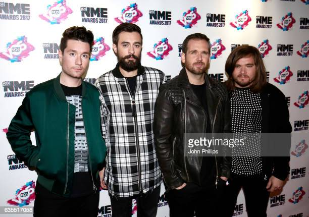Dan Smith Kyle Simmons Will Farquarson Chris Wood of Bastille arrive at the VO5 NME awards 2017 on February 15 2017 in London United Kingdom