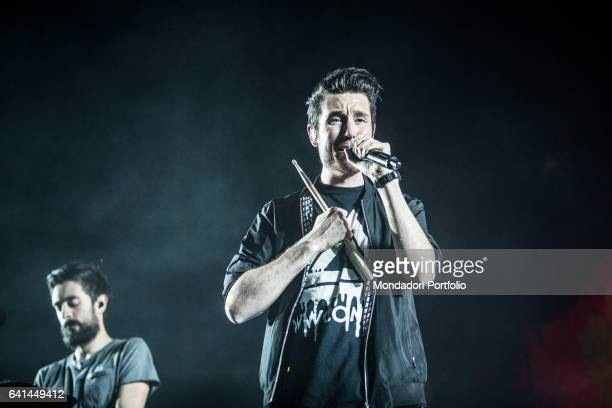 Dan Smith lead singer of British alternative rock band Bastille performs at Forum di assago Milan February 7 2017