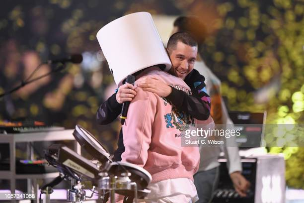 Dan Smith of Bastille and Marshmello perform on stage during the MTV EMAs 2018 at Bilbao Exhibition Centre on November 4 2018 in Bilbao Spain