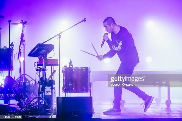 Dan Smith of Bastille perform during Redfestdxb 2020 on February 6 2020 in Dubai United Arab Emirates