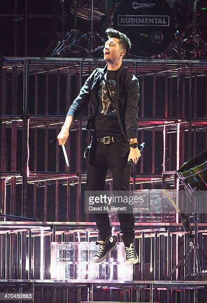 Dan Smith of Bastille performing at The BRIT Awards 2014 at 02 Arena on February 19 2014 in London England