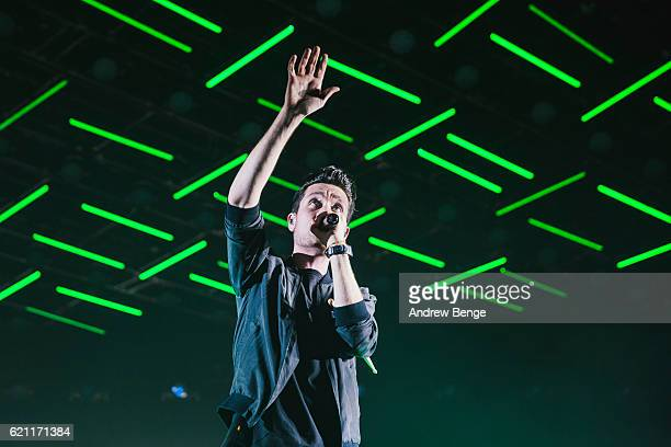 Dan Smith of Bastille performs at First Direct Arena Leeds on November 4 2016 in Leeds England