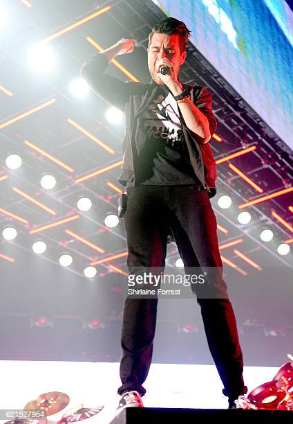 Dan Smith of Bastille performs at Manchester Arena on November 6 2016 in Manchester England