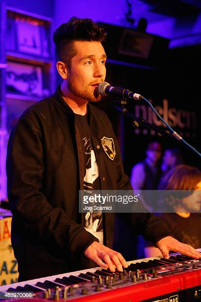 Dan Smith of Bastille performs at Nielsen Hosts PreGRAMMY Celebration Connecting Media Brands and Entertainment on February 7 2015 in Los Angeles...