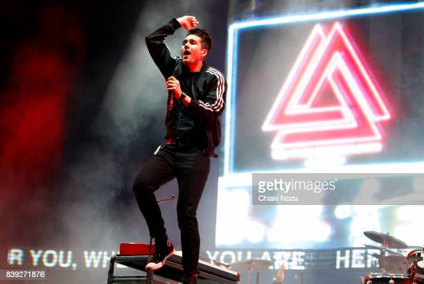 Dan Smith of Bastille performs at Reading Festival at Richfield Avenue on August 25 2017 in Reading England