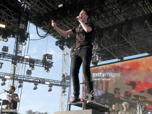 Dan Smith of Bastille performs at the Outdoor Stage during day 2 of the Coachella Valley Music And Arts Festival at the Empire Polo Club on April 15...