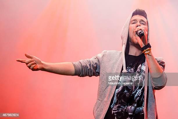 Dan Smith of Bastille performs during 2015 Lollapalooza Brazil at Autodromo de Interlagos on March 28 2015 in Sao Paulo Brazil