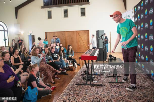 Dan Smith of Bastille performs during an EndSession hosted by 1077 The End at Fremont Abbey Arts Center on June 14 2018 in Seattle Washington