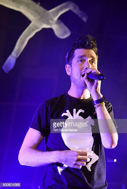 Dan Smith of Bastille performs during Radio 947's Electric Christmas at Memorial Auditorium on December 9 2015 in Sacramento California