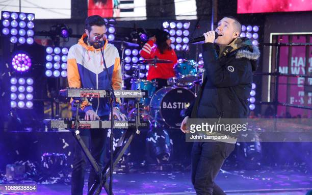 Dan Smith of Bastille performs during the Times Square New Year's Eve 2019 Celebration on December 31 2018 in New York City