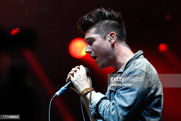 Dan Smith of Bastille performs live on the NME/Radio 1 stage during day one of Reading Festival at Richfield Avenue on August 23 2013 in Reading...