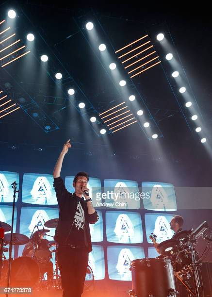 Dan Smith of Bastille performs on stage at Doug Mitchell Thunderbird Sports Centre on April 27 2017 in Vancouver Canada