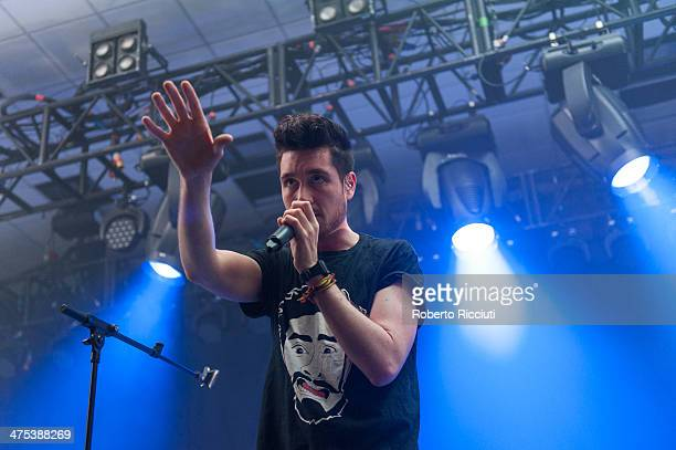 Dan Smith of Bastille performs on stage at The Corn Exchange on February 27, 2014 in Edinburgh, United Kingdom.