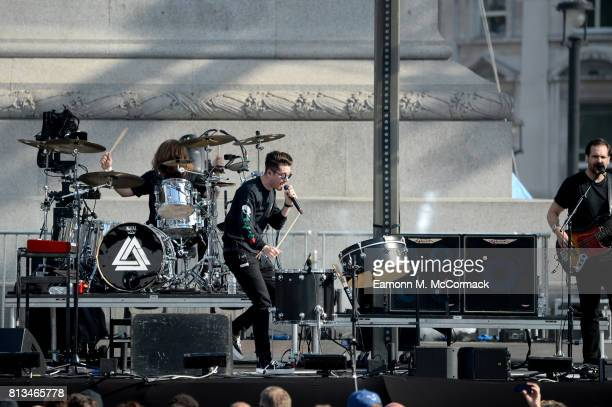 Dan Smith of Bastille performs on stage at the F1 Live in London event at Trafalgar Square on July 12 2017 in London England F1 Live London the first...