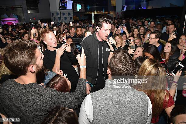Dan Smith of Bastille performs on stage at the Pandora Holiday Live event at Pier 36 on December 6 2016 in New York City
