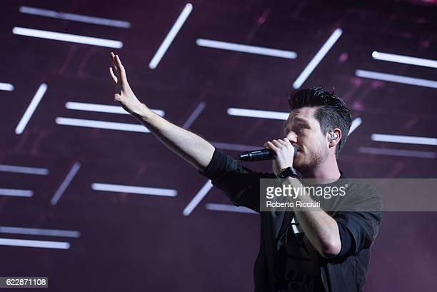 Dan Smith of Bastille performs on stage at The SSE Hydro on November 12 2016 in Glasgow Scotland