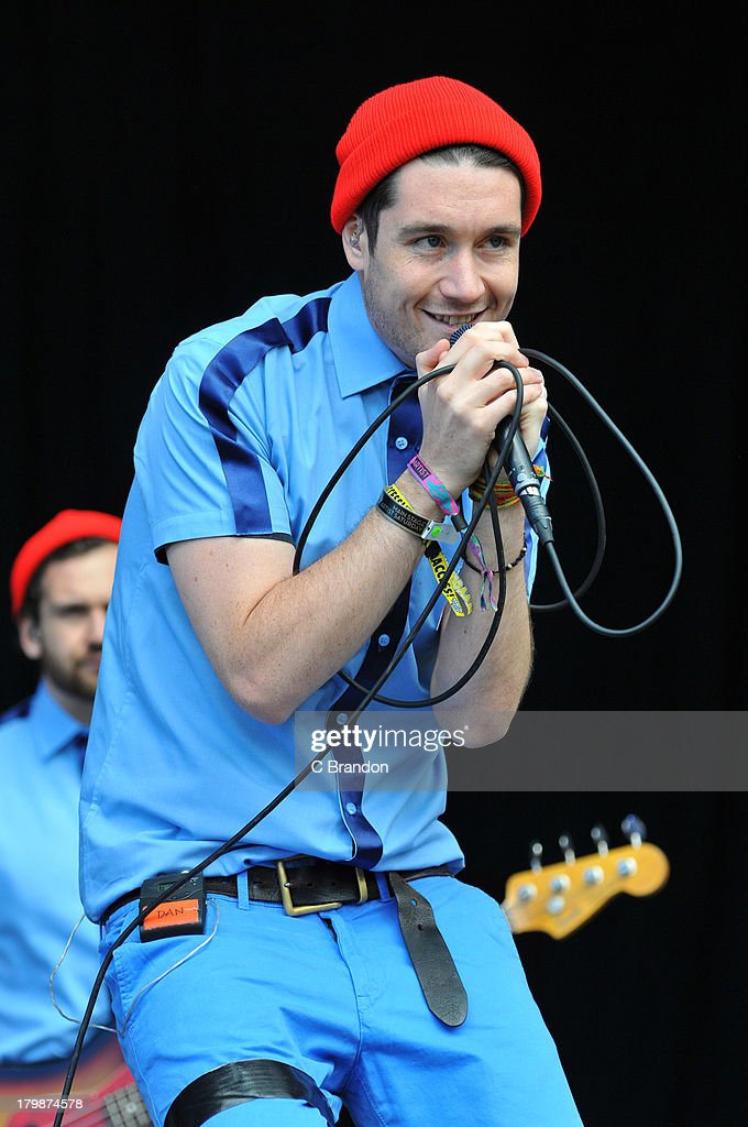 Dan Smith of Bastille performs on stage during Day 3 of Bestival 2013 at Robin Hill Country Park on September 7, 2013 in Newport, Isle of Wight.
