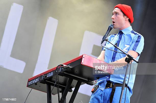 Dan Smith of Bastille performs on stage during Day 3 of Bestival 2013 at Robin Hill Country Park on September 7 2013 in Newport Isle of Wight