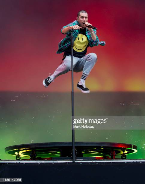 Dan Smith of Bastille performs on stage during Isle of Wight Festival 2019 at Seaclose Park on June 15 2019 in Newport Isle of Wight
