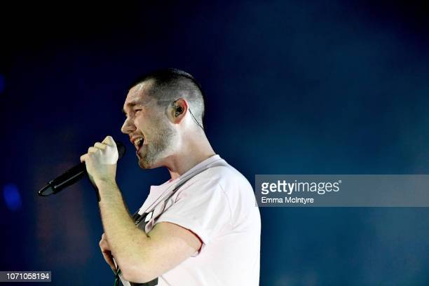 Dan Smith of Bastille performs on stage during KROQ Absolut Almost Acoustic Christmas at The Forum on December 9 2018 in Inglewood California