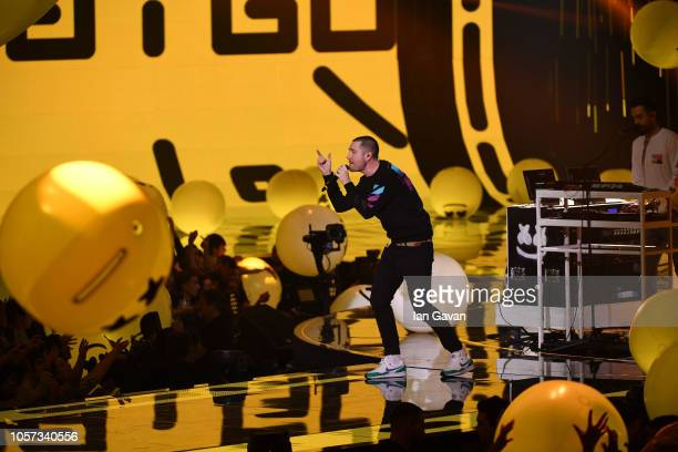 Dan Smith of Bastille performs on stage during the MTV EMAs 2018 at Bilbao Exhibition Centre on November 4 2018 in Bilbao Spain