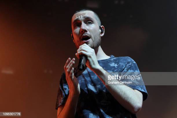 Dan Smith of Bastille performs on the AO Live Stage during day four of the 2019 Australian Open at Melbourne Park on January 17 2019 in Melbourne...