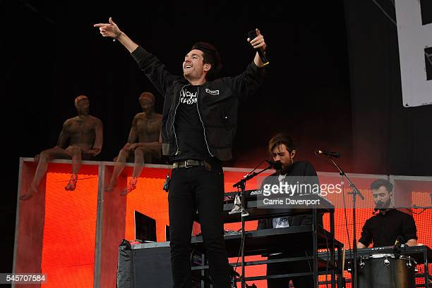 Dan Smith of Bastille performs on the main stage at T In The Park at Strathallan Castle on July 9 2016 in Perth Scotland