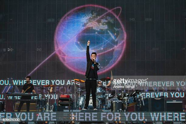Dan Smith of Bastille performs on the main stage during day 2 at Leeds Festival at Bramhall Park on August 26 2017 in Leeds England