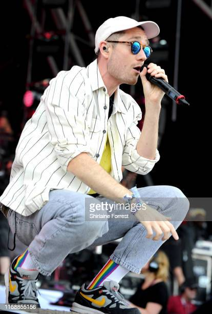 Dan Smith of Bastille performs on the Pyramid Stage during day three of Glastonbury Festival at Worthy Farm Pilton on June 28 2019 in Glastonbury...