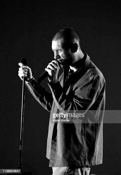 Image has been converted to black and white Dan Smith of Bastille performs onstage at iHeartRadio Theater on June 17 2019 in Burbank California