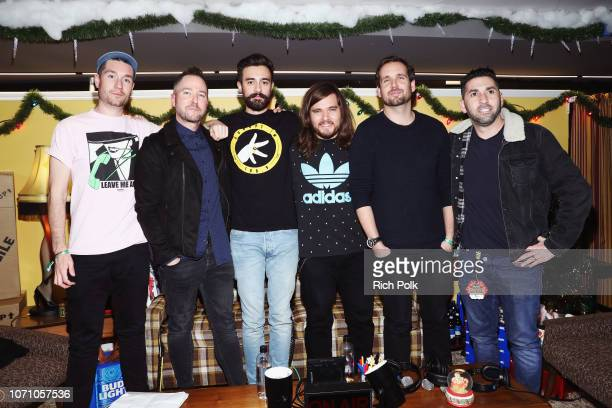Dan Smith of Bastille Ted Stryker Kyle J Simmons Chris Wood and Will Farquarson of Bastille abd KROQ Radio Host Kevin Klein attend KROQ Absolut...