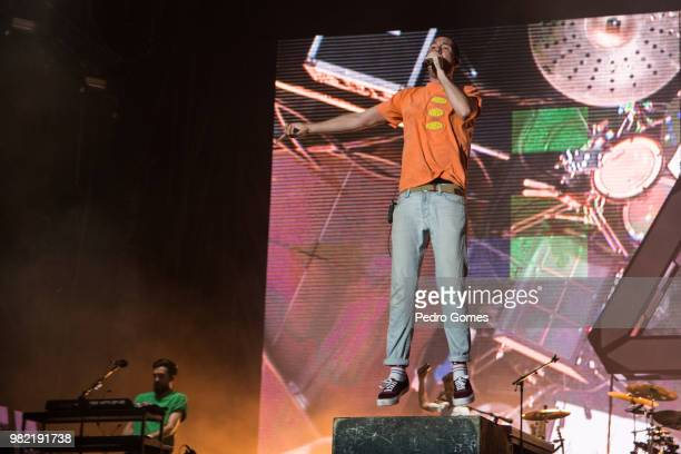 Dan Smith of the band Bastille performs at the Mundo stage on day one of Rock in Rio Lisbon on June 23 2018 in Lisbon Portugal